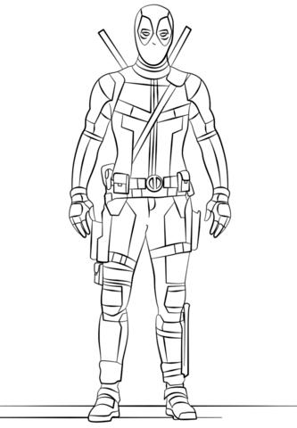 Deadpool Coloring Page Marvel Coloring Deadpool Comic Superhero Coloring