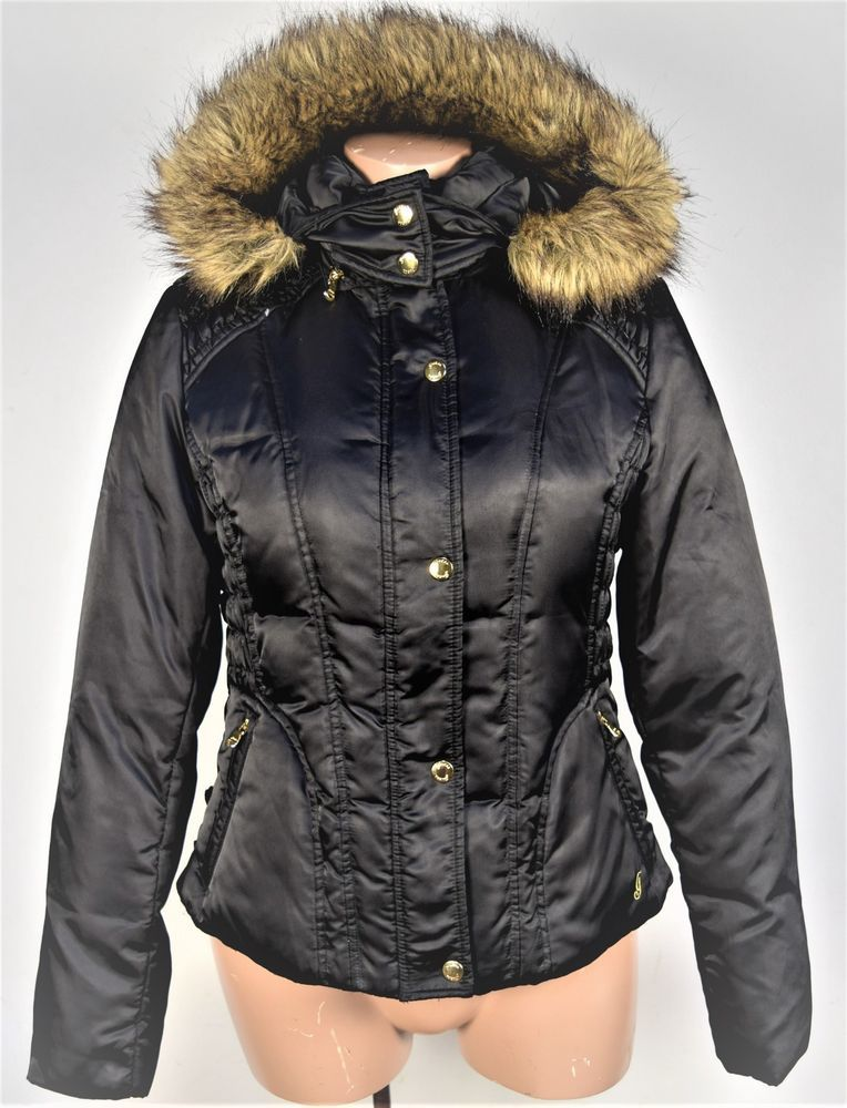 GUESS Faux Fur Hood Down Feather Ski Puffer Winter Bomber Jacket ...