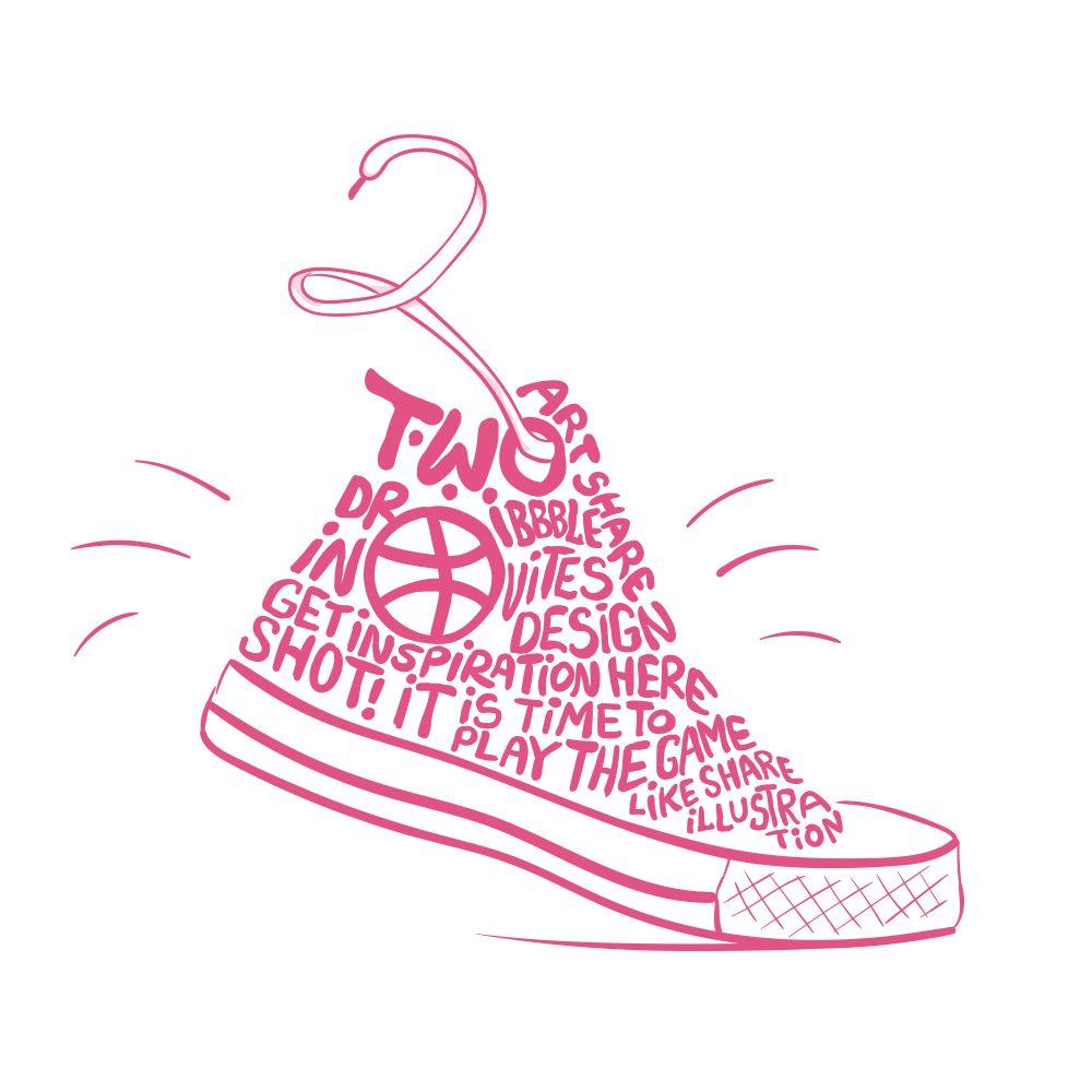 Basketball shoes lettering. Illustration be Natalka Dmitrova