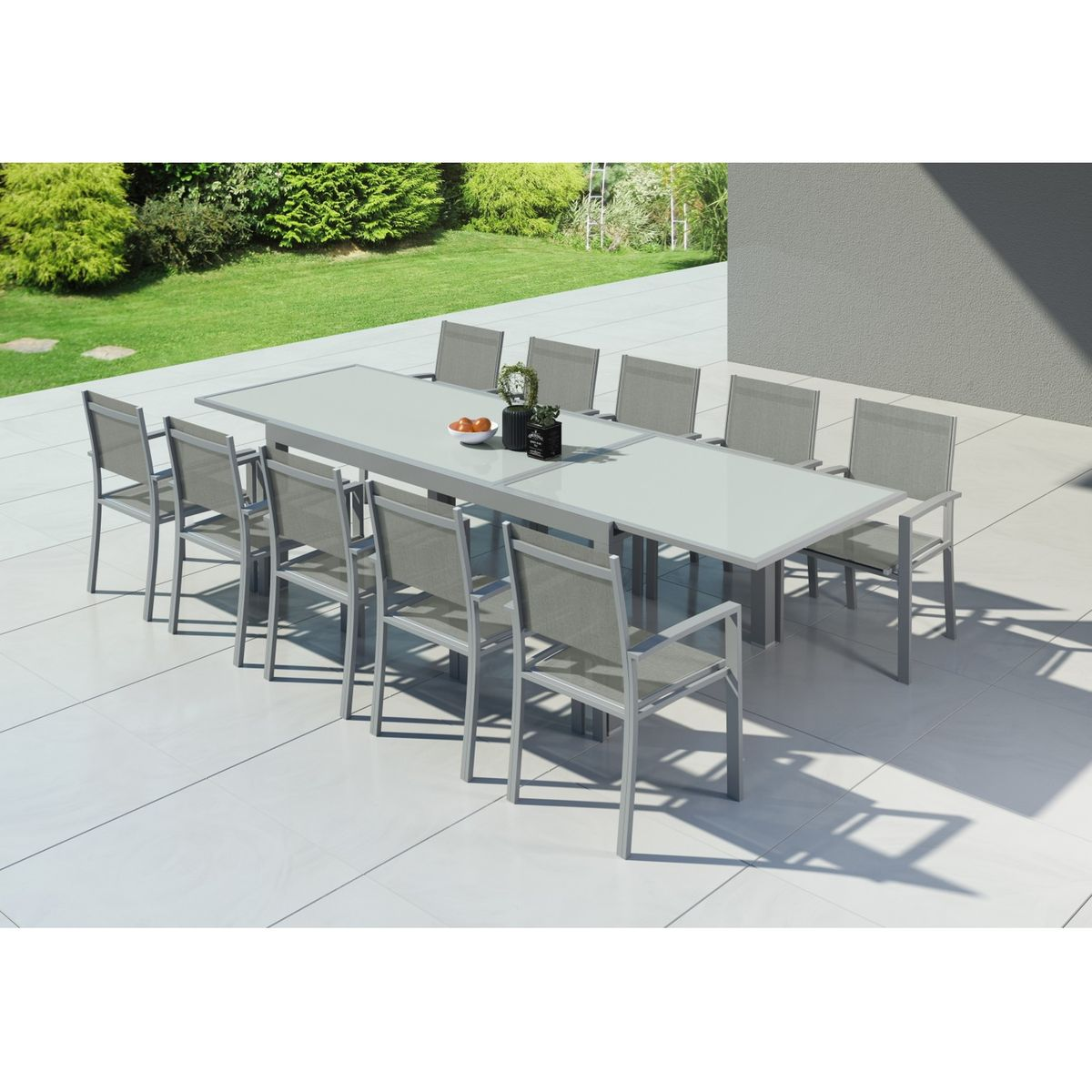 Table de jardin extensible, aluminium, 200/320cm, 10 ...