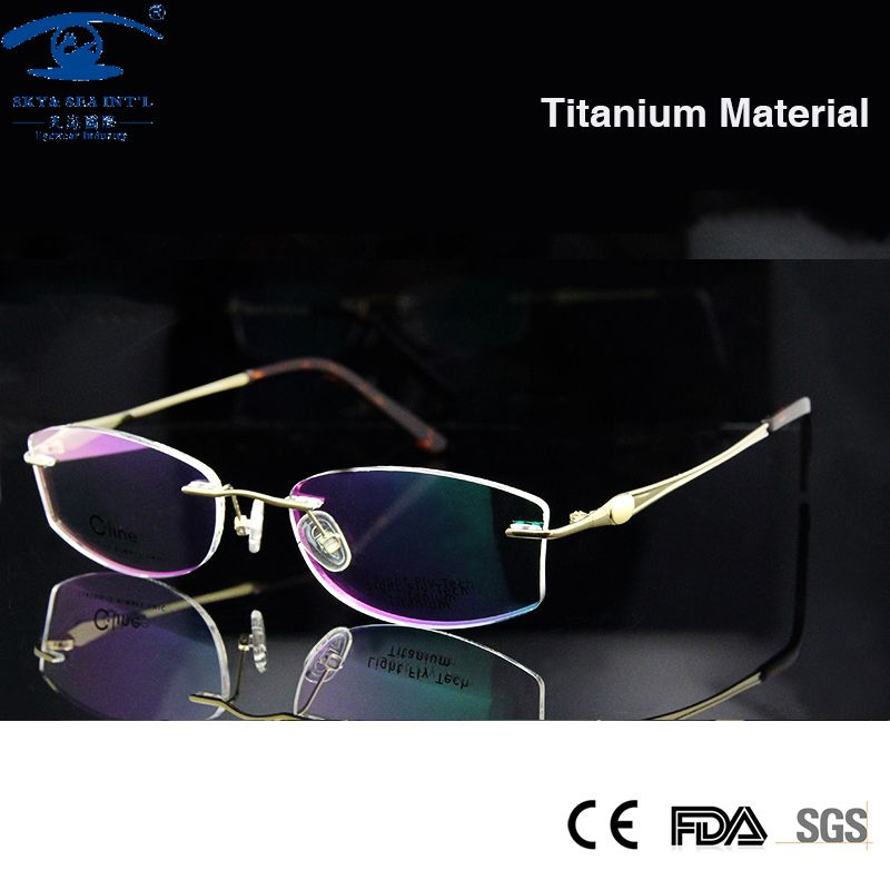 Luxury Golden Color Woman Titanium Glasses Rimless Eyeglass Frames ...