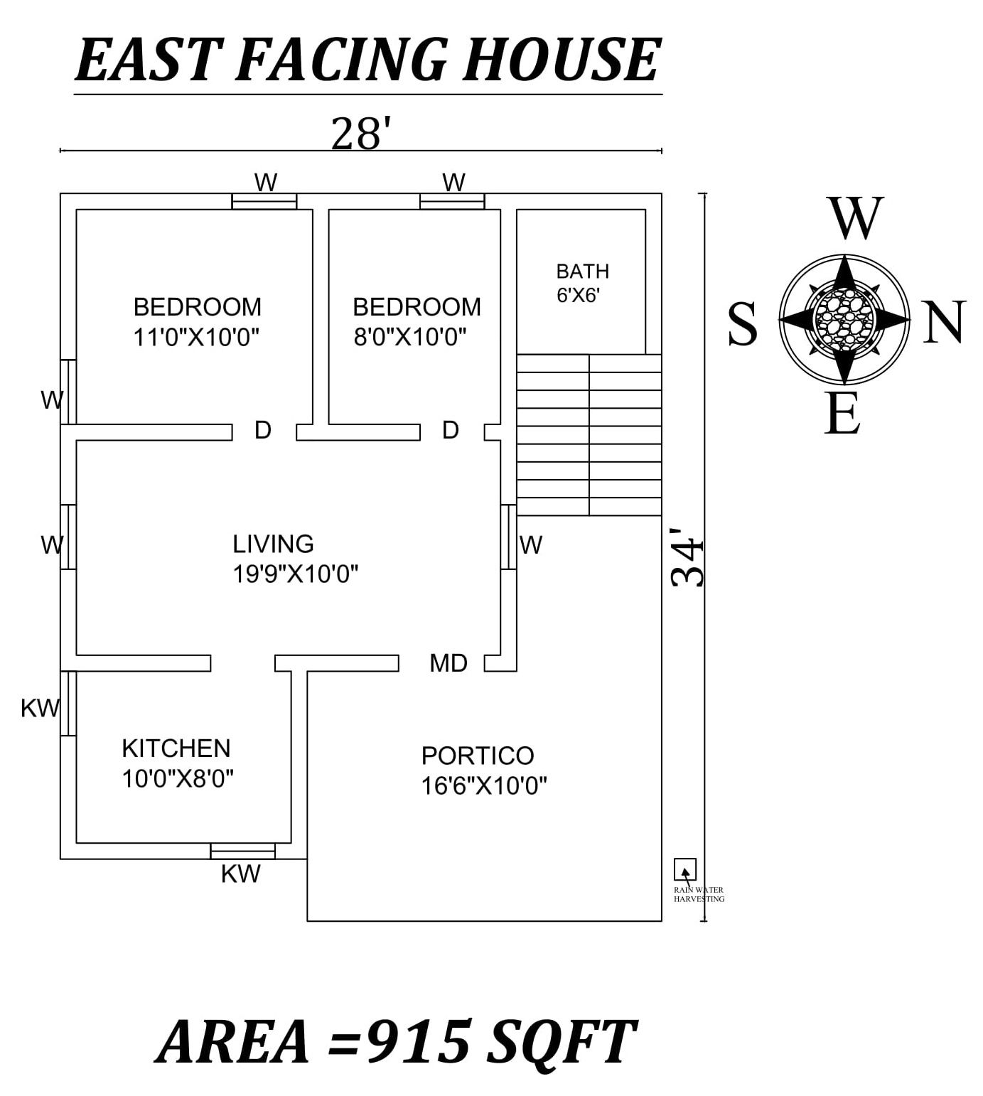 28 X34 Amazing 2bhk East Facing House Plan As Per Vastu Shastra Autocad Dwg And Pdf File Details 2bhk House Plan Little House Plans Beautiful House Plans