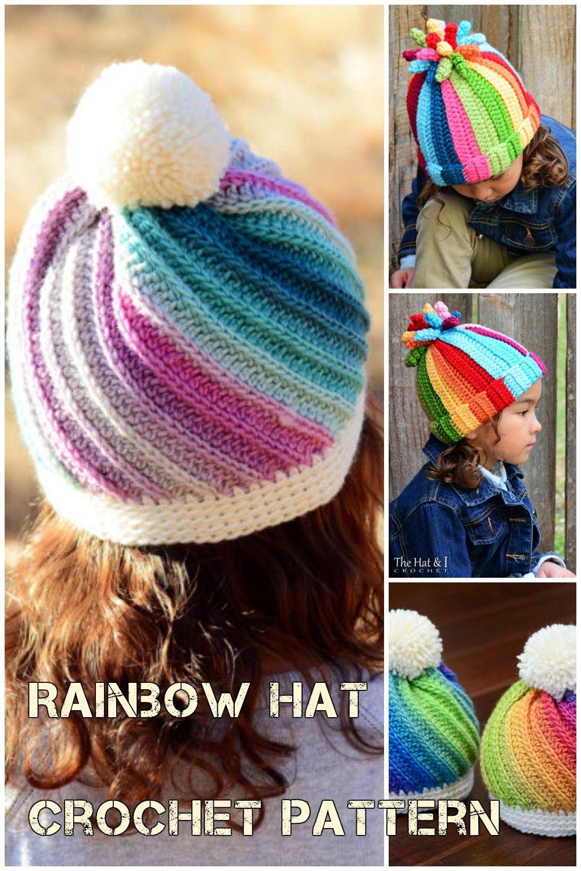 Crochet Rainbow Hat Pattern And Crochet Swirl Hat Pattern  bb61b23fdc9