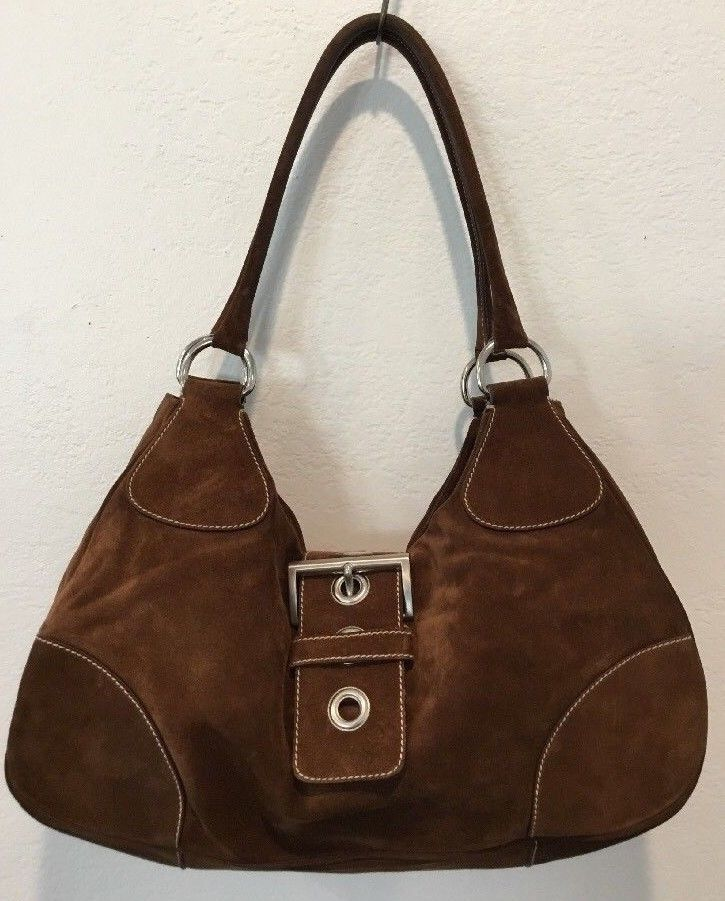 bdc54843d6 PRADA SCAMOSCIATO BROWN SUEDE MEDIUM HANDBAG PURSE  PRADA  ShoulderBag