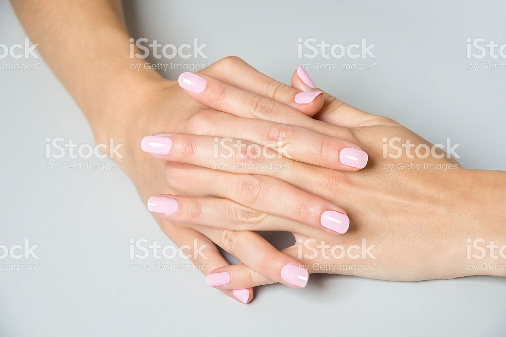 Pair Of Elegant Hands With Pink Nail Paint stock photo 514157384 ...