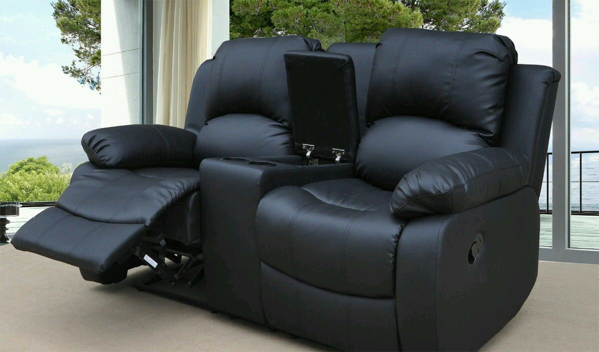 NEW LUXURY MIAMI 2 SEATER RECLINER SOFA WITH CINEMA CONSOLE CUP ...