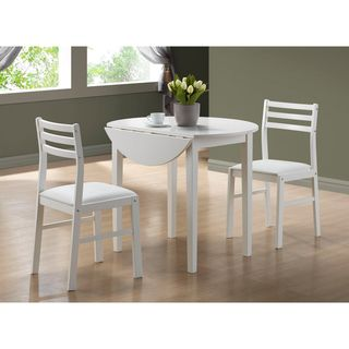 Overstock  White 3Piece Dining Set Drop Leaf Table  Add A Custom Three Piece Dining Room Set Design Inspiration