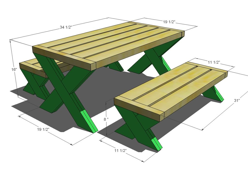 Ana White Build A Build A Modern Kids Picnic Table Or X Benches - Modern picnic table plans