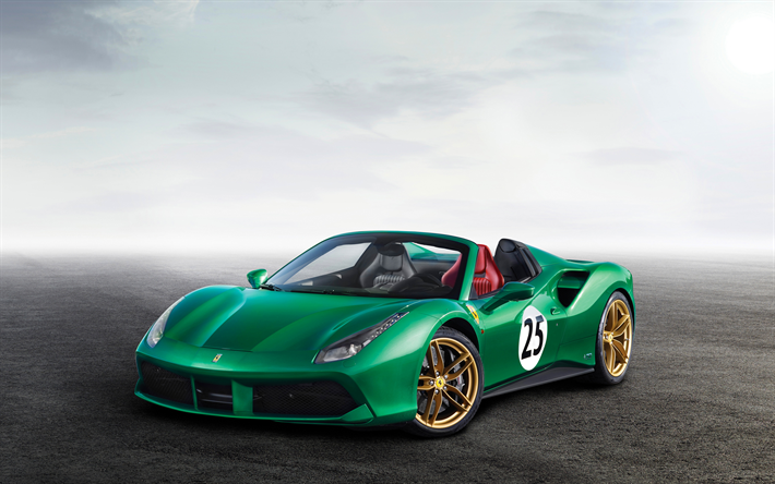 Download Wallpapers Ferrari 488 Spider, 4k, 2017 Cars, Green 488 Spider,  Supercars, Ferrari For Desktop Free. Pictures For Desktop Free
