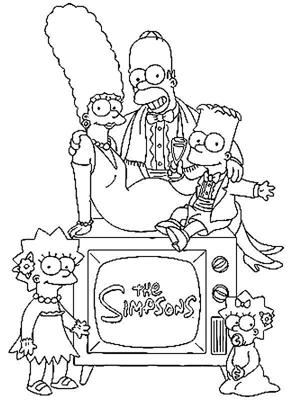 kleurplaat simpsons simpsons simpsons family