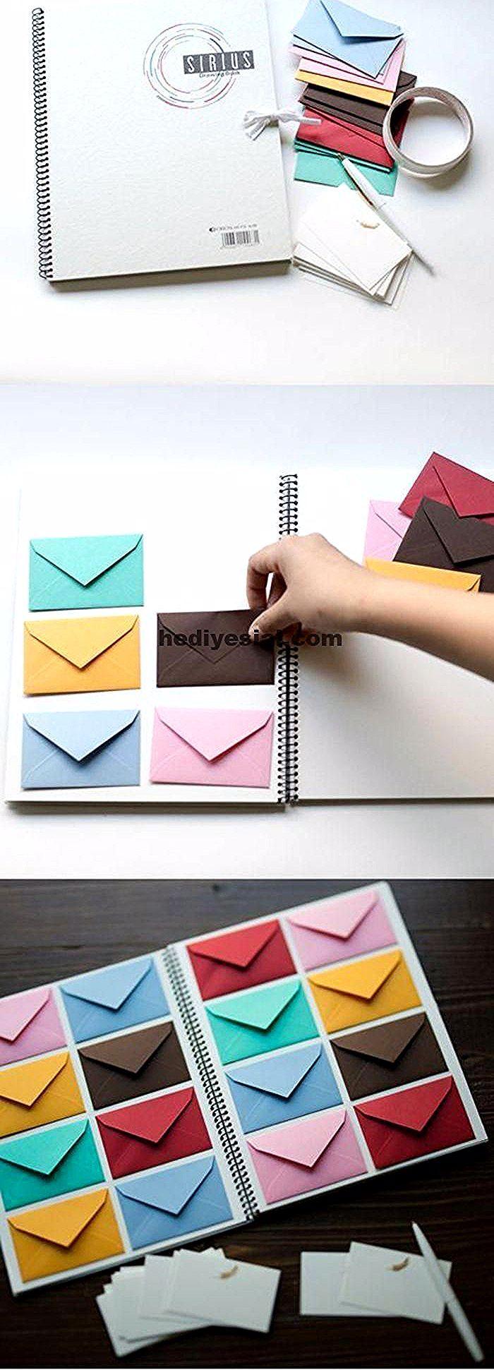 Ideen für Valentinstag, romantische Geschenke, weißes Notizbuch mit kleinen Umschlägen ... , #geschenke #ideen #kleinen #notizbuch #present #romantische #umschlagen #valentinstag
