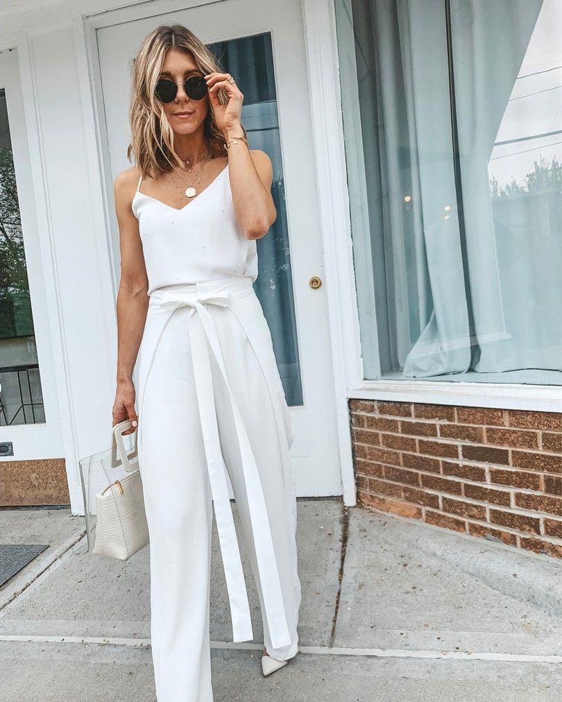 white highwaisted tie pants workwear fortheoffice