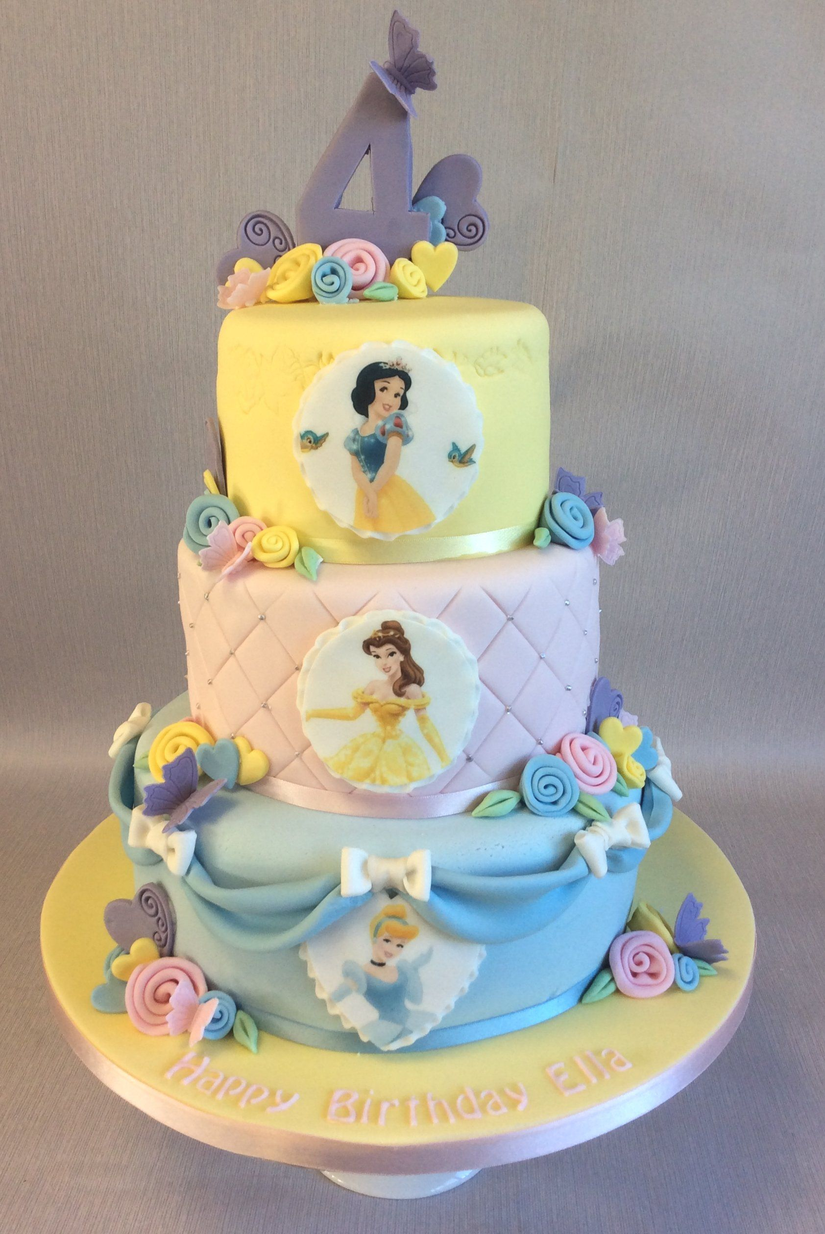 Terrific 3 Tier Pastel Colours Disney Princess Birthday Cake With Images Personalised Birthday Cards Petedlily Jamesorg