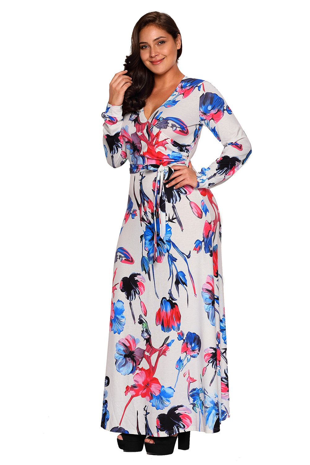 Blue red floral print sash tie plus size maxi dress ravenus