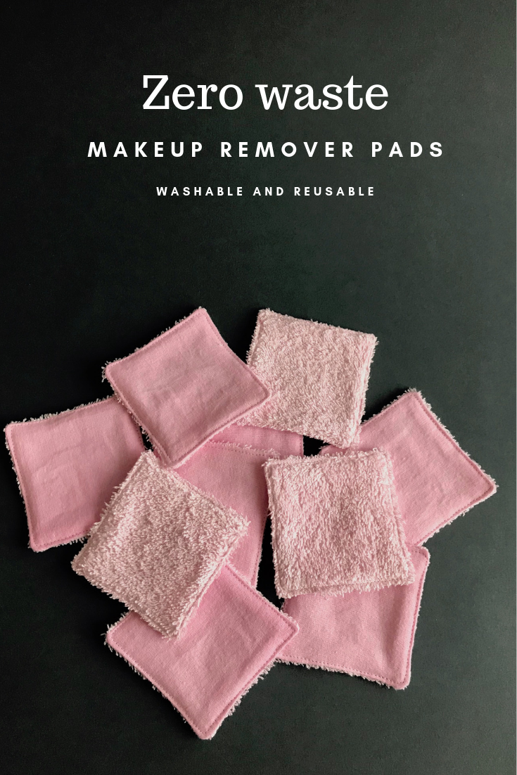 Set of 10 zero waste makeup remover pads in white and pink. 100% organic reusable cotton rounds. Eco friendly washable facial wipes.