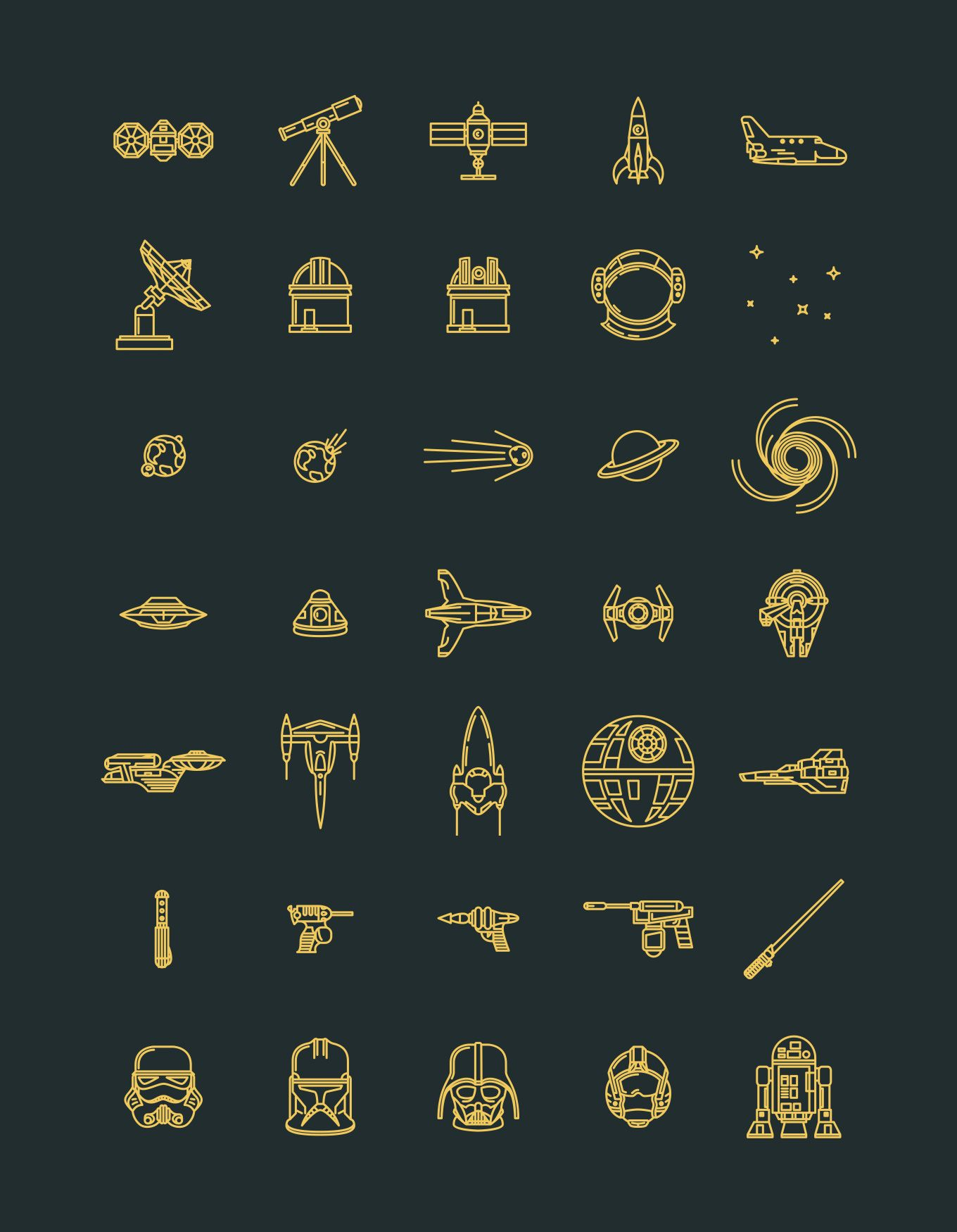 Vector line icons set in EPS format — free download Star