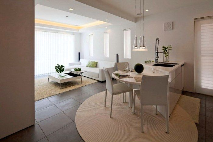 Elegant Captivating Modern House Design Idea: Charming Small Kitchen Design With  Island And Kitchen Table Design At Modern Zen Design House Open Flo.