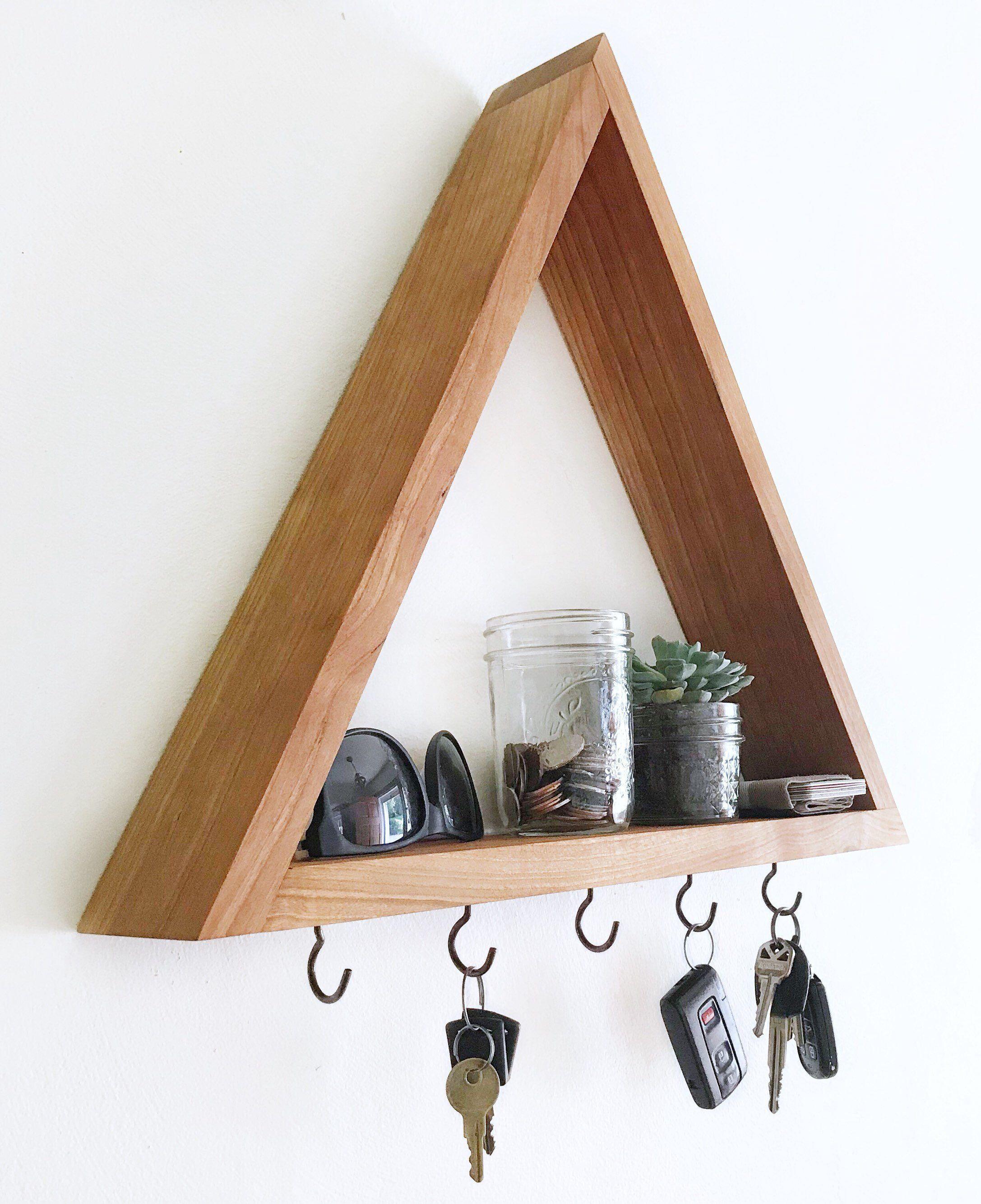 Wood Triangle Shelf Key Hooks Leash Hooks Rack Modern Handmade