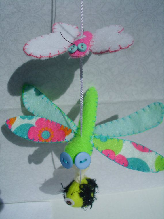 Butterfly Dragonfly Bumble Bee Mobile Ornie Plush by MyWillies
