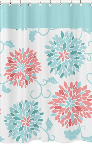 Emma Turquoise And Coral Bathroom Fabric Bath Shower Curtain Kids Shower Curtain Turquoise Shower Curtain Easy Bathroom Makeover