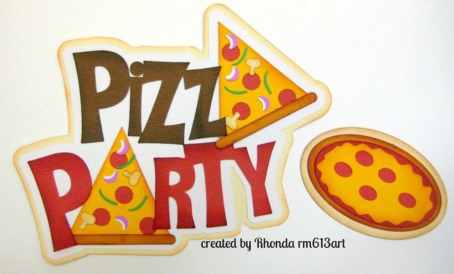 Pizza Party boy /girl paper piecing title premade scrapbook page Rhonda rm613art