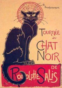 Art Nouveau cartel de la gira de Le Chat Noir, 1896.