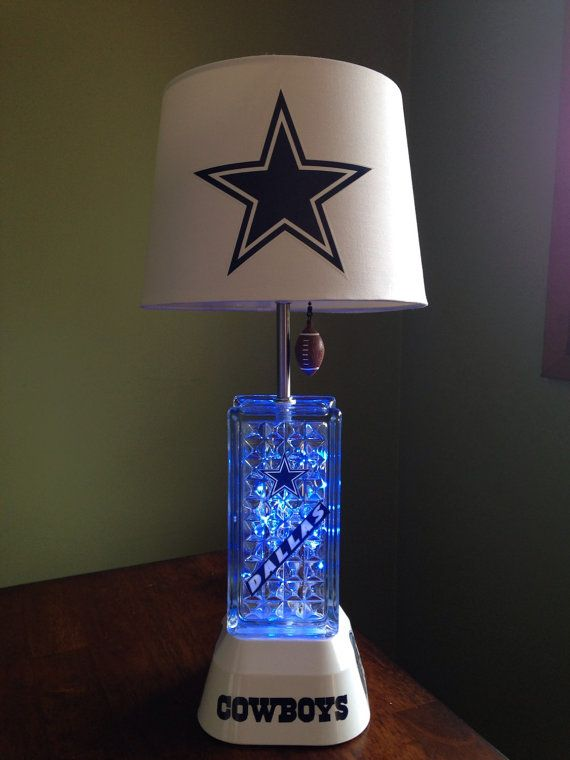 Total Height Of Lamp 21 Inches Lampshade Is 10 X 8 With A 7 Inch Slope There Is Blue Light Dallas Cowboys Bedroom Dallas Cowboys Decor Cowboy Bedroom