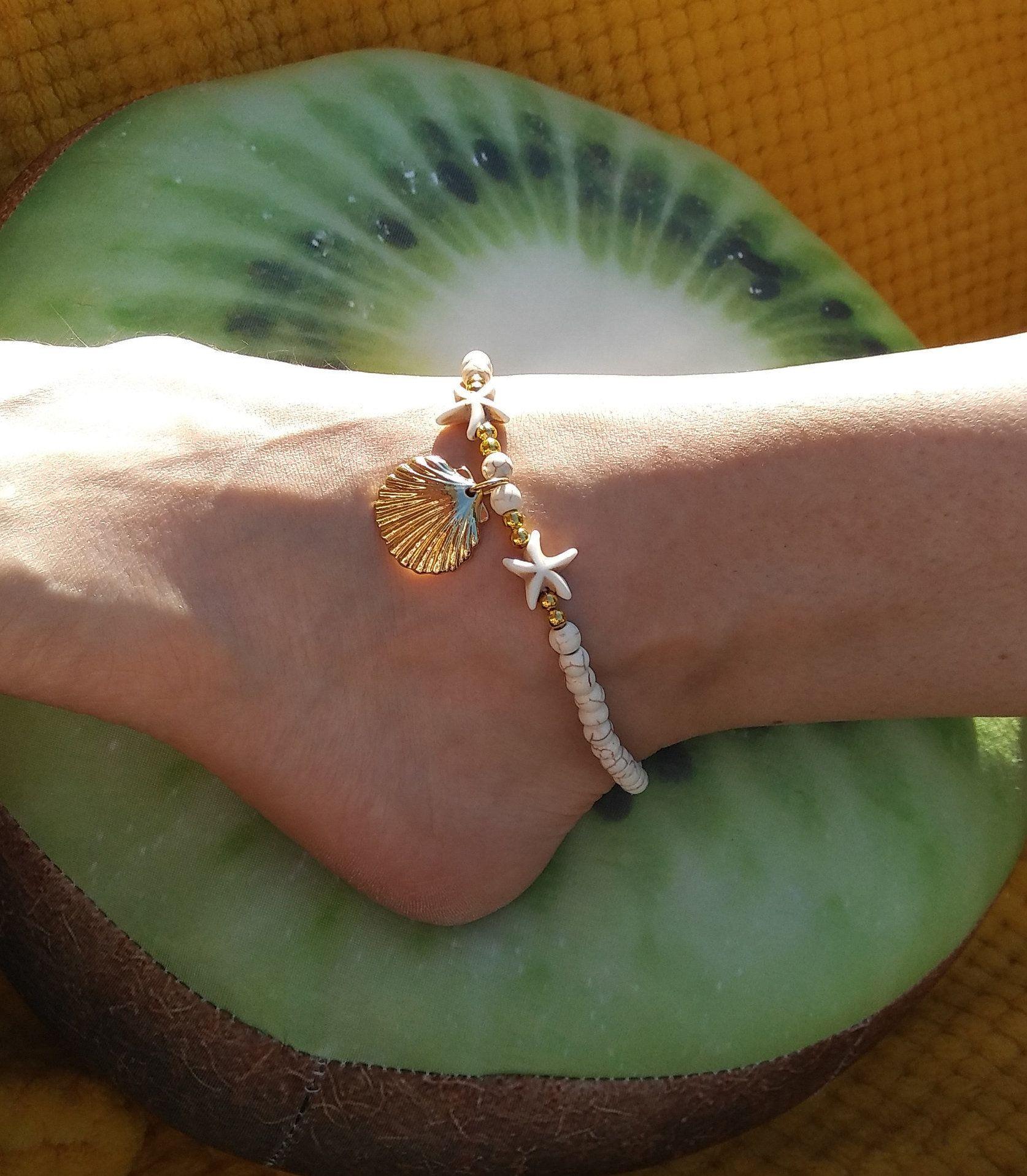 bracelet cheville coquillage femme