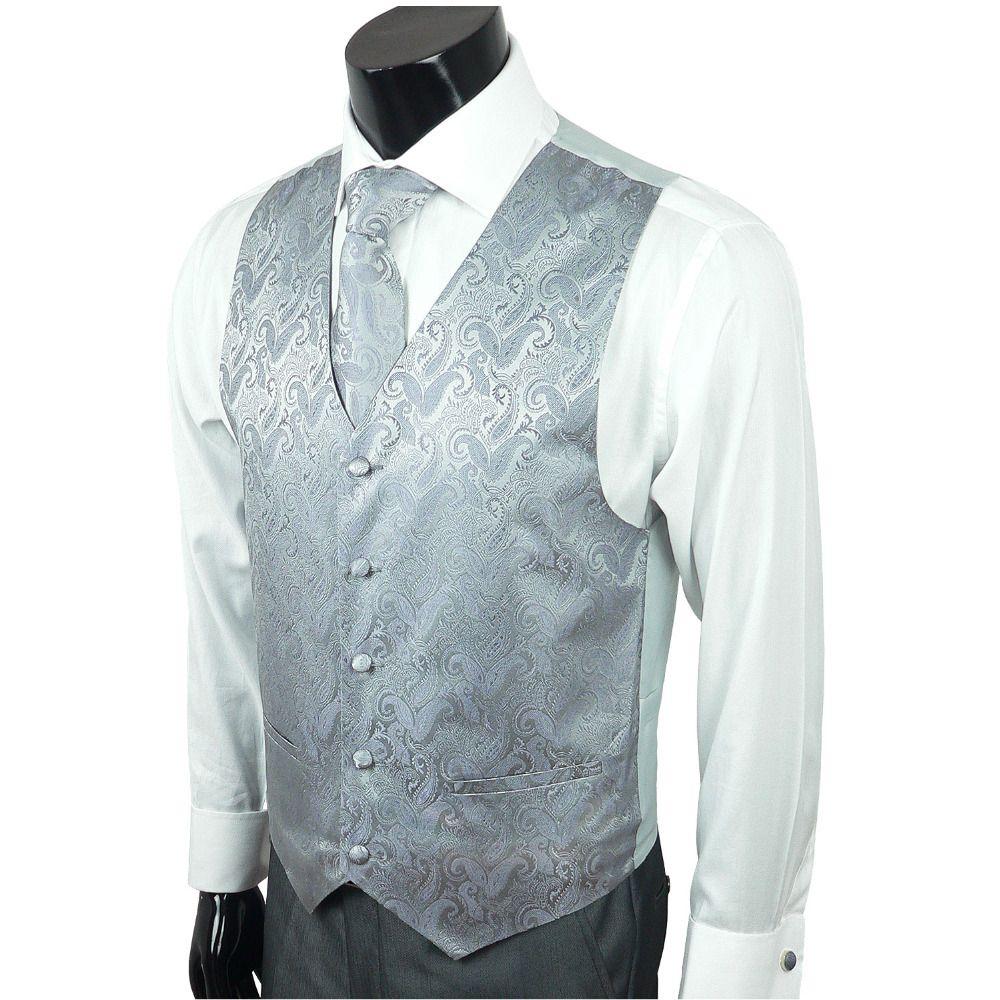 Landisun 161 Dark Gray Paisley Casual Formal Dress Business Mens ...
