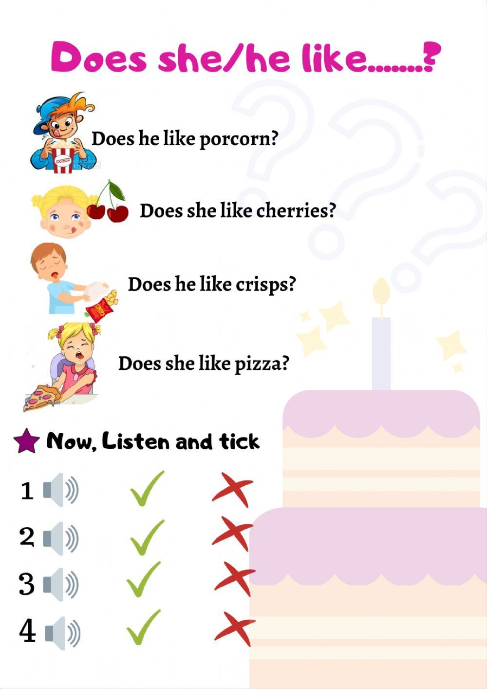 Does He She Like Interactive Worksheet Worksheets 2nd Grade Worksheets School Subjects