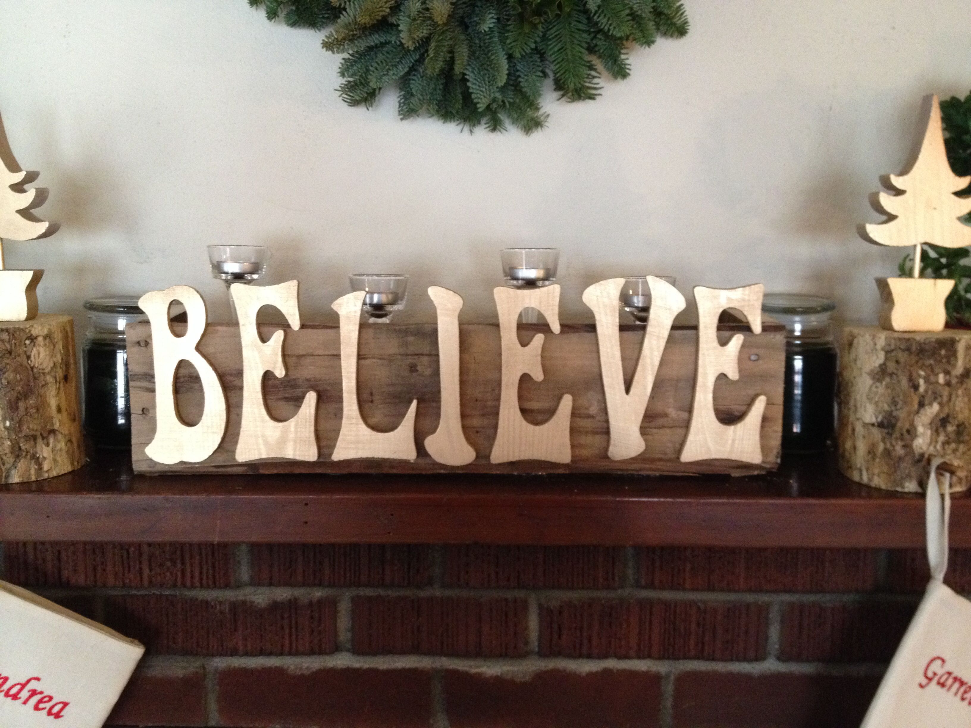 Believe Christmas Sign Made From Pallet And Wood Letters From