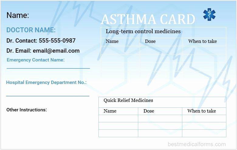 Medication Wallet Card Template Elegant Asthma Wallet Card Template Card Template Card Templates Printable Card Wallet