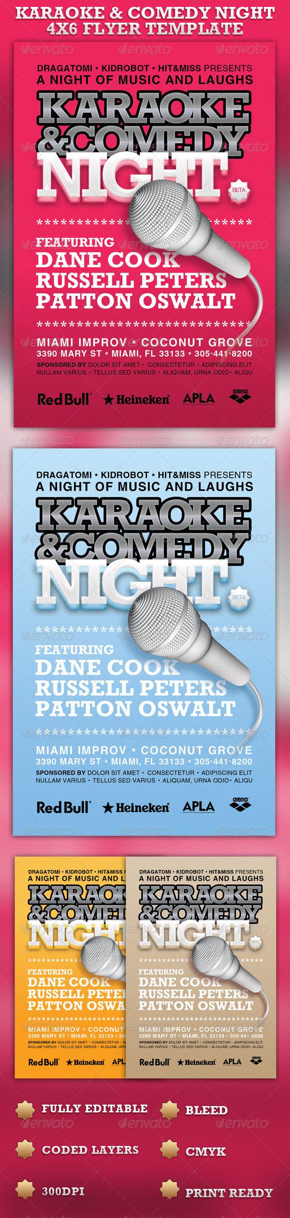 karaoke comedy night 4x6 flyer template 6 00 event flyer