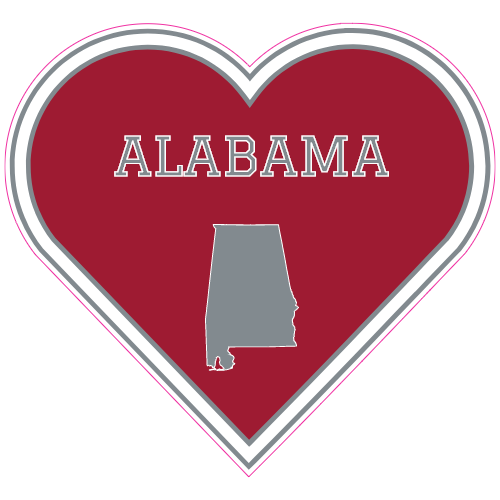 Alabama state heart shaped sticker u s custom stickers