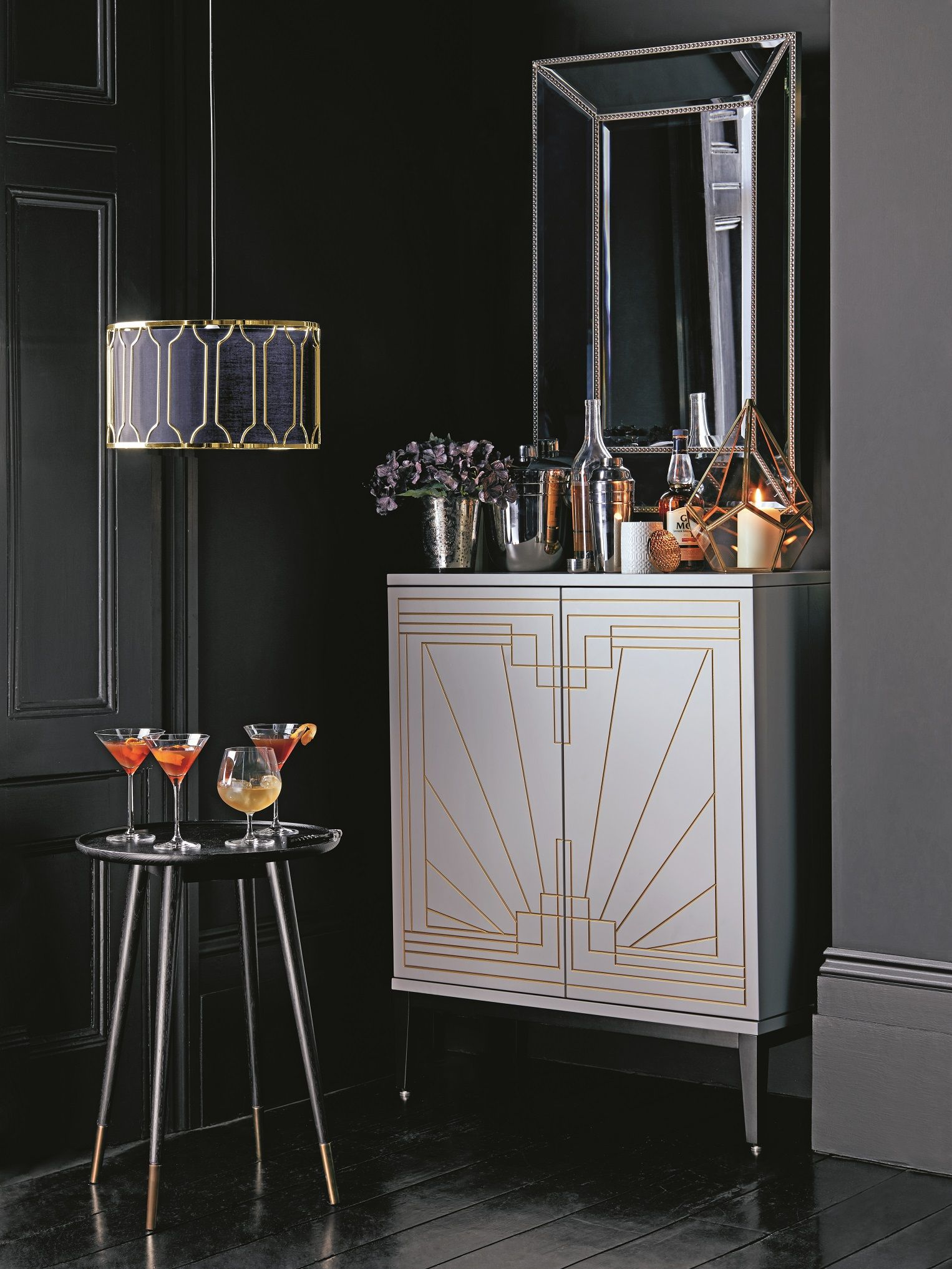 Inspired By Art Deco Styling The Drinks Cabinet Has Fully Fold Out Doors With Storage For