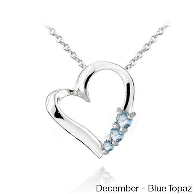 Glitzy Rocks Sterling Silver Gemstone Heart Necklace (Blue Topaz), Women's, Size: 18 Inch