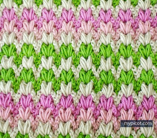 Free pattern @ MyPicot - Multi-coloured puff stitch...Thanks so xox ...