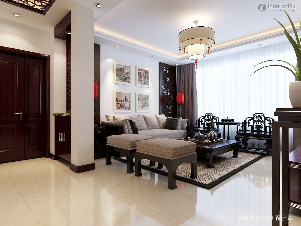 Chinese style interiors new chinese style ceiling for New style drawing room