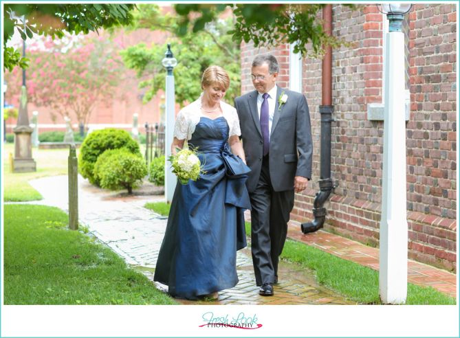 romantic blue themed summer wedding, bride and groom, just married ...