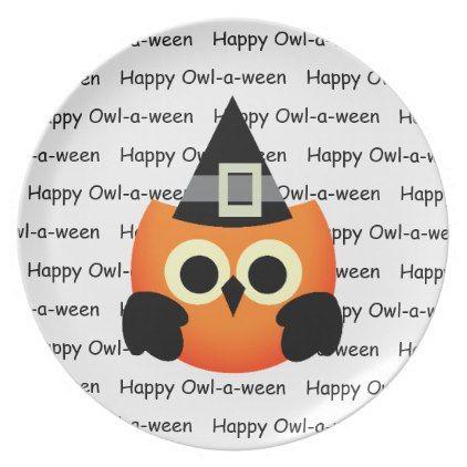 Halloween Plastic Plate-Owl Dinner Plate  sc 1 st  Pinterest & Halloween Plastic Plate-Owl Dinner Plate - Halloween happyhalloween ...