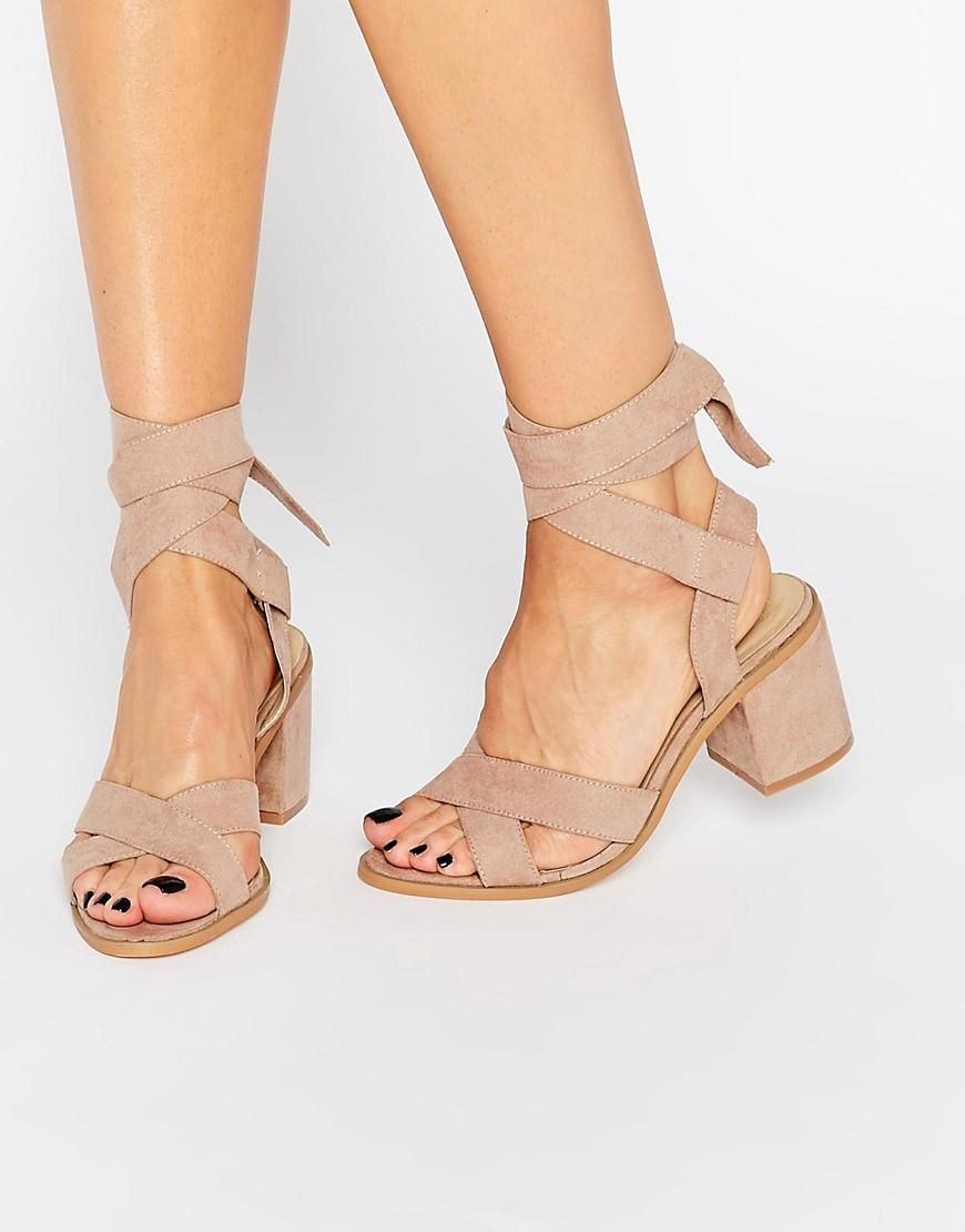 Truffle Collection Truffle Tie Ankle Kitten Heel Sandals At Asos Kitten Heel Sandals Shoes Heels Shoes