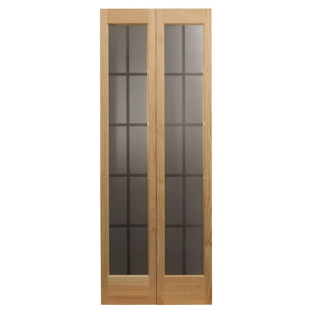 Pinecroft 30 In X 80 In Colonial Glass Universal Reversible Wood Interior Bi Fold Door 873726 The Ho Glass Bifold Doors Bifold Door Hardware Bifold Doors