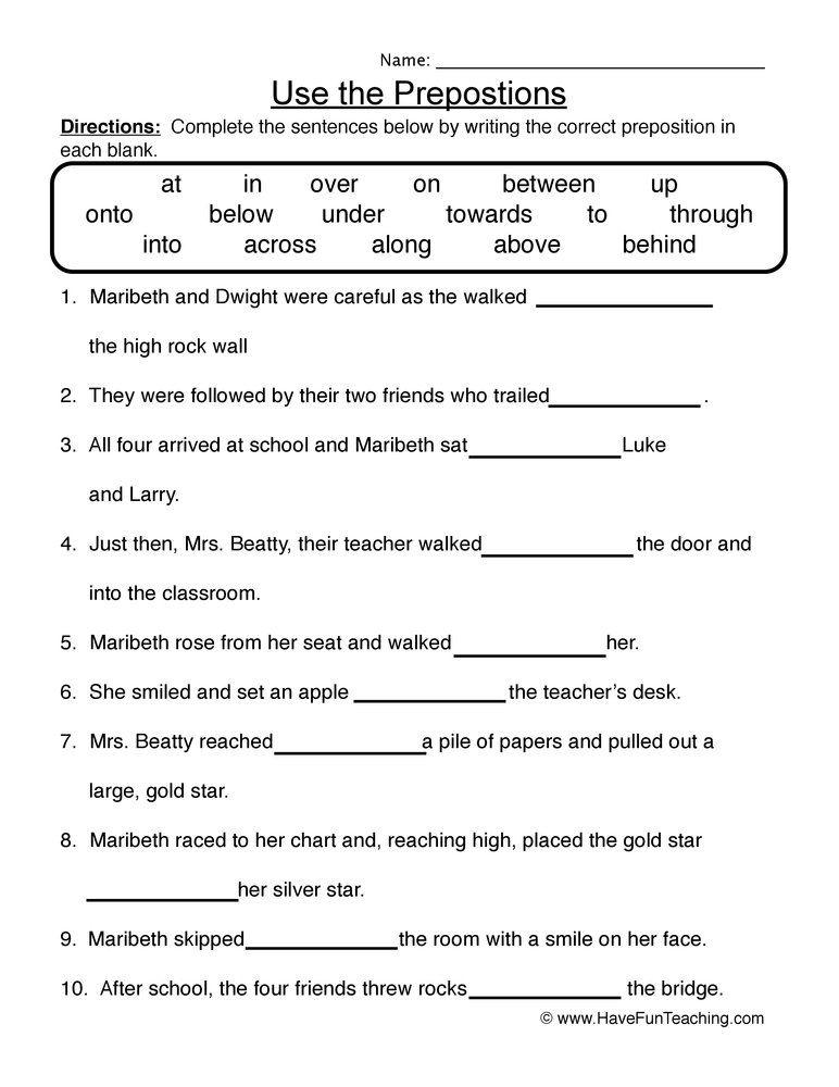 Fourth Grade Preposition Worksheet Preposition Worksheets, Prepositional  Phrases, Teaching Prepositions
