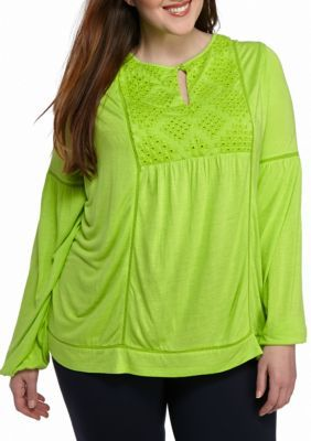 6b3fa32f Crown & Ivy™ Plus Size Eyelet Bib Knit Top | Products | Tops, Crown ...
