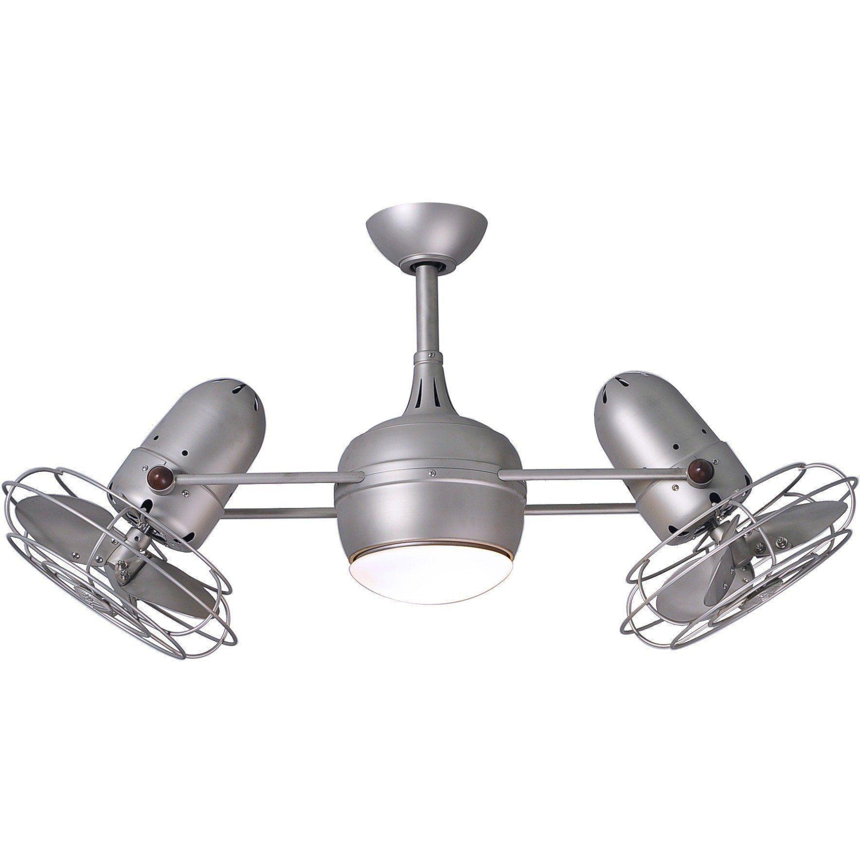 Dagny Dual Ceiling Fan Brushed Nickel Metal Blades Light Kit