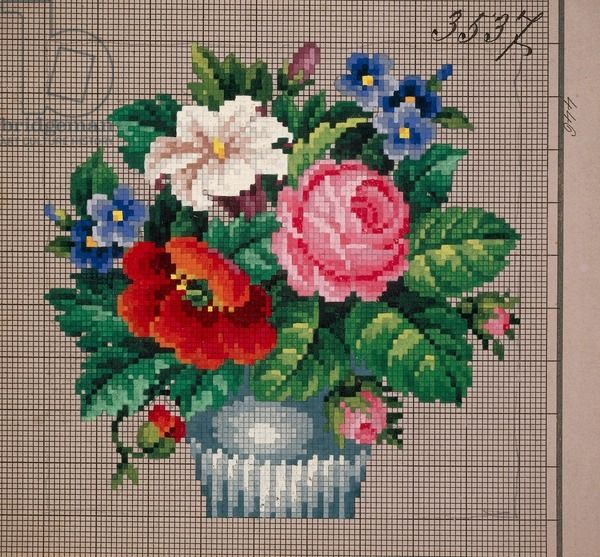 Bunch of roses, poppies, lilies and cornflowers in vase embroidery design, 19th century