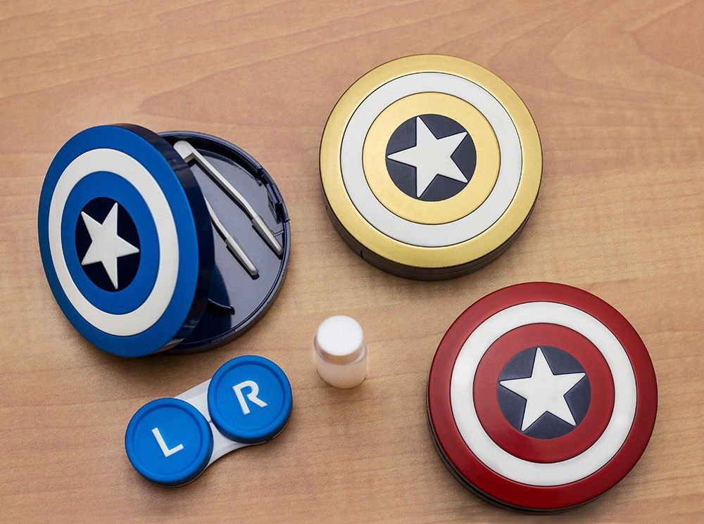 Lenskart Captain America White Blue  Contact Lens Case (CONTENTS: 1 Picker, 1 Solutions Bottle, Lens Case & Outer Box)