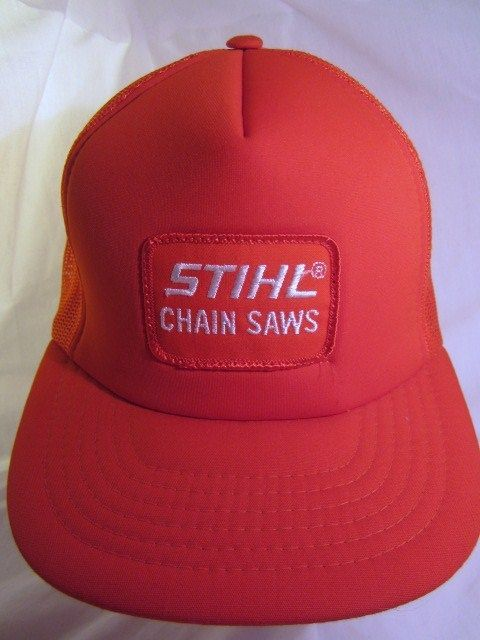 10d7c64332e Vtg STIHL Orange Ball Cap Embroidered Logo Mesh Structured Trucker Hat Snap  Back  treeservice  chainsaws  logging