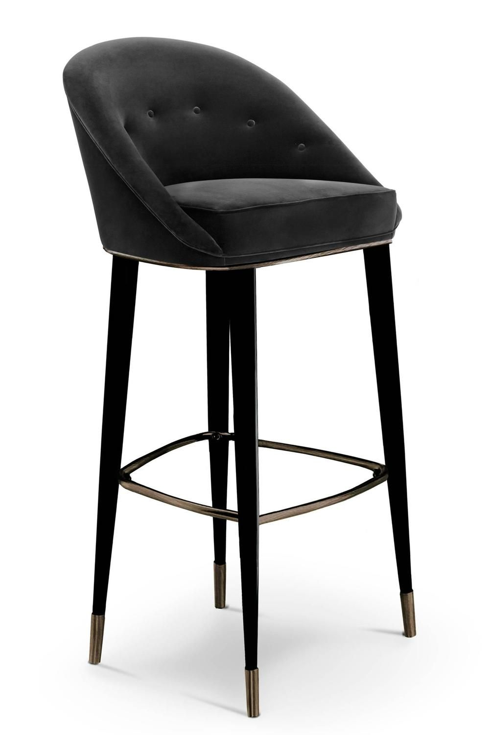 Bar Stool Myla with Cotton Velvet seat and Black Lacquered Legs | From a unique collection  sc 1 st  Pinterest & Bar Stool Myla with Cotton Velvet seat and Black Lacquered Legs ... islam-shia.org