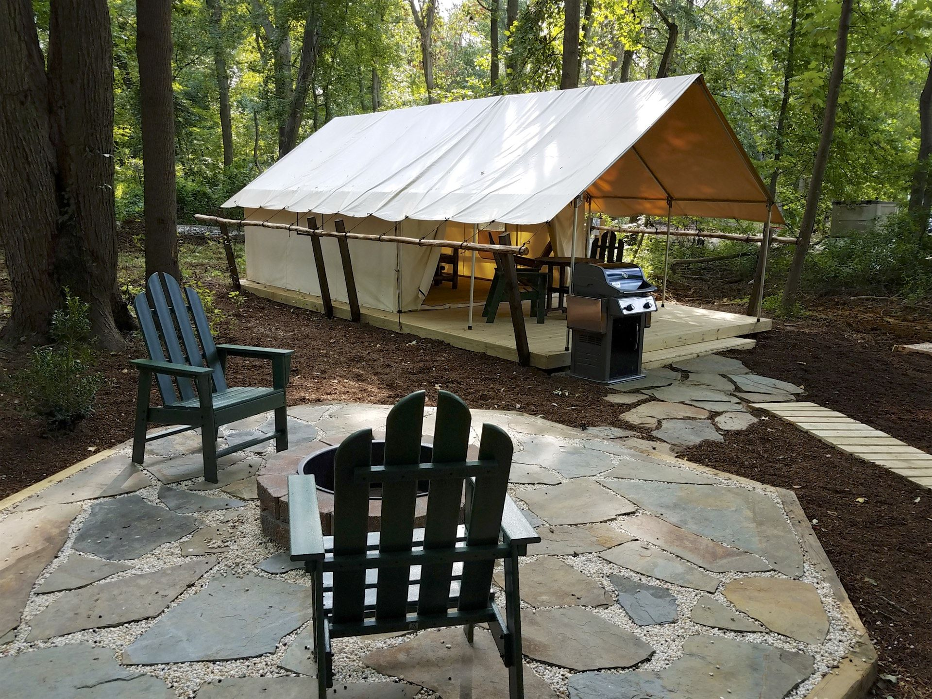 New glamping tent patio site at the Philadelphia South Clarksboro
